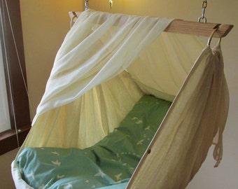 BUNDLE DEAL Baby Hammock / Children's Swing by LUNALAY /includes: Organic Cotton  Futon Cover,  Hammock Screen and Hardware for hanging