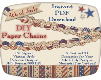 PAPER CHAINS-4th of July Printables Digital Downloads-Patriotic Party Supplies-Independence Day-DIY Office Decorations-Garlands-Paperchains