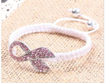 Breast Cancer Awareness Macrame Adjustable Bracelet