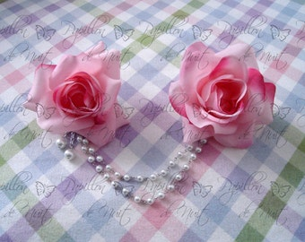 Double Rose Pearl Corsage Hair Clip / Pin