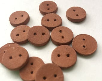 Ceramic terracotta buttons: red/brown rustic terracotta handmade buttons. Clay buttons, pottery buttons, rustic unglazed buttons