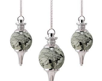 Tourmalated quartz sephoroton pendulum