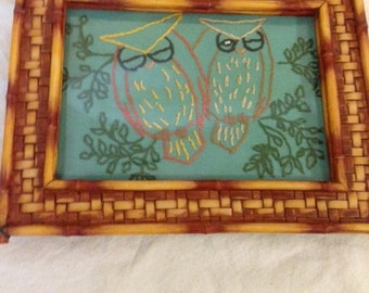 Framed hand embroidered owls  5 x 7