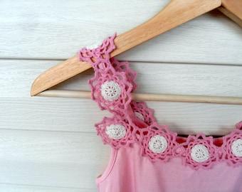 Women Lace Top,Crocheted Shirt, Lace Shirt, Blush Pink Shirt, Spring Fashion,Pink Shirt, Summer Fashion