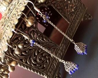 Silver Jhumka Earrings,Long Silver Jhumkas, Earrings Ethnic ,Silver tribal Jhumkis Deep Blue beads ,Indian Jewelry T