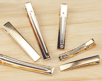 10 PCS 4.5-8mm gold Metal Flat top Hair Clips,Blank Barrettes, alligator clip(210-95)