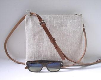 CrossBody Bag, Simple CrossBody Purse, Linen Crossbody bag