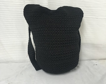 Black knit purse,shoulder bag, bucket bag