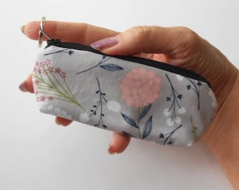 Lip Balm Holder Zipper Pouch  Small Coin Purse Mini Key Ring Zippered Pouch ECO Friendly Padded Earbud Pouch Vintage Floral Toss