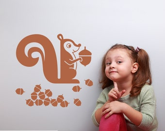 Squirrel Wall Decal Woodland Baby Nursery Kids Animal Room Theme