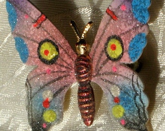 Butterfly WinGs Vintage Brooch Pin Hand Painted Glass Sugared Bright Original Card Scarf Hat Clip Hair Pink Blue Yellow