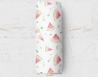 Organic Swaddle Blanket Watermelon. Watermelon Organic Blanket. Baby Swaddle. Newborn Swaddle. Gauze Blanket. Watermlon Blanket.