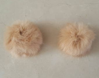 2 tassels made of real fur camel light 5 cm