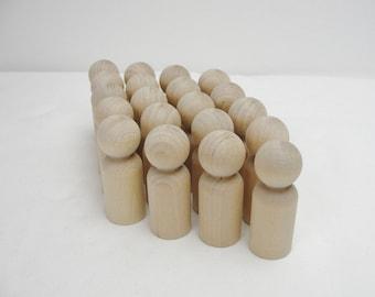 Wooden peg people, peg dad, unfinished DIY set of 20