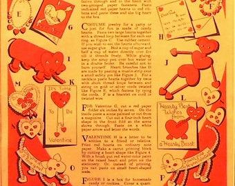 1941 Child Life Valentine Crafts Matted Vintage Prints