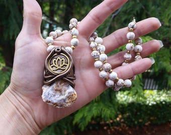Lotus Flower Druzy Geode Necklace