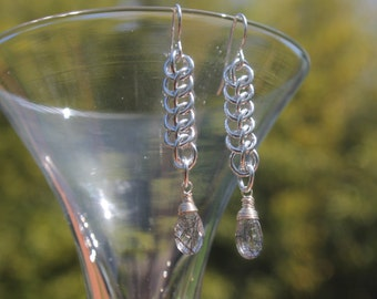 Rutilated quartz faceted briolette chainmaille earrings