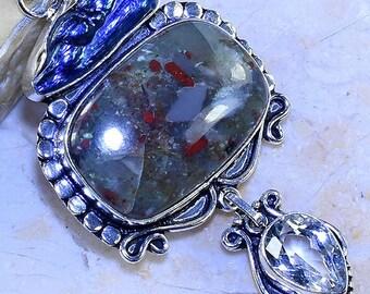 Multi Gemstone Pendant/ Bloodstone/ White Topaz/ Biwa Pearl/ Gemstone / 925 Sterling Silver Pendant