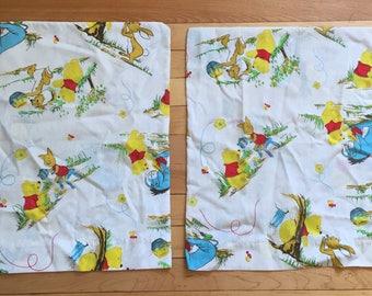 Vintage 1970s Winnie the Pooh Crib Pillowcases!