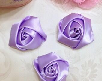 """Lavender Satin Rolled Rosette Set of 3 - Lavender Satin Rosette 1.5"""" - Satin Rolled Rosette - Petite Rosette - Lavender Satin Rosette"""