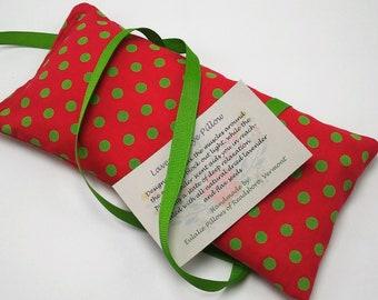 Red Polka Dot Lavender Eye Pillow, Bridal Gift, Yoga Eye Bag, Teacher Gift, Aromatherapy Eye, Lavender Eye Mask, Sleep Mask, Yoga Gift