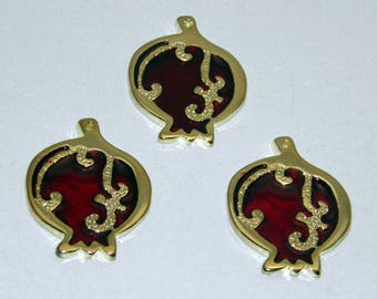 Gold Tone Metal Pomegranate Charms - Polished Brass Plated - Red Enamel Color - Good Luck Charm -  Greek Product, Small pomegranates