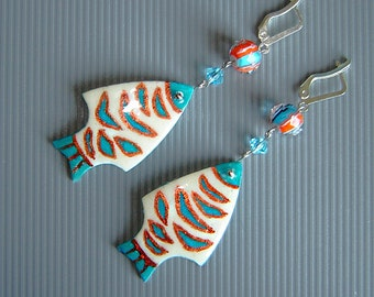 SALE. Fishes earrings. Ostrich eggshell. Pysanky earring