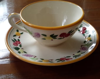 Set of 5 Vintage Cups and Saucers by Franciscan in Small Fruit Pattern