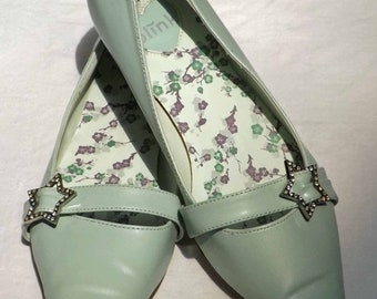 35% Off Sale Blink: Pale Green blue Flats Size 8 B with a rhinestone star buckle