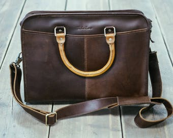 Leather briefcase  14 inch laptop satchel Messenger Bag for men and women - Niche Lane Loxley Coffee
