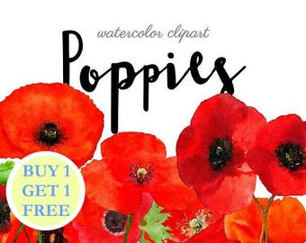 Watercolor clipart flowers Clip Art poppies Watercolor clipart 11 png Flowers Leaves Aquarelle Digital Clip Art watercolour red flowers