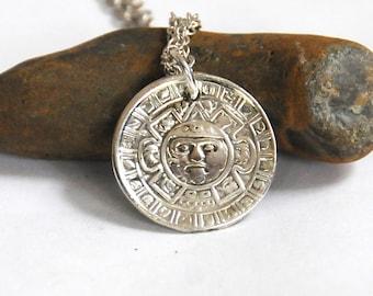 Aztec  Sun God necklace small, Tonotiuh necklace, Mesoamerica necklace,  Mexican necklace