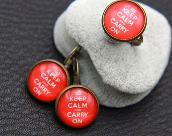 keep calm and carry on SET earrings and ring  1616P