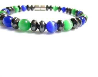 High Power Magnetic Hematite Cats Eye Bracelet