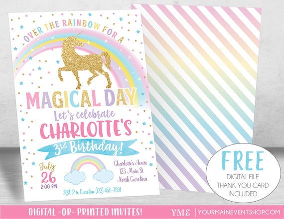 Magical Unicorn Invitation, Unicorn Birthday Invitation, Rainbow Invitation, Rainbow Birthday Invite Printable, Unicorn Party
