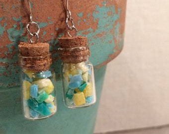 Upcycled Boho Drop Earrings - Eco Friendly Earrings - Miniature Glass Bottles - Turquoise, Green and Yellow