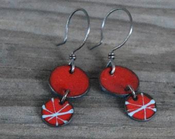 mod red enameled earrings