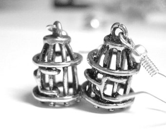 Fly Free Birdcage Silver Charm Earrings 019