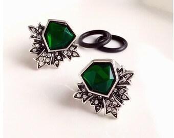 "White gold silver art deco green gem rhinestone plugs for gauged ears: 6g 4g 2g 1g  0g 00g 7/16"" 1/2"" 4mm 5mm 6mm 7mm  8mm 10mm 11mm 12mm"