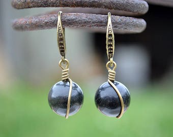 Obsidian bronze tone earrings, Black obsidian earrings, Obsidian earrings, Obsidian bronze earrings, Obsidian drop earrings, Obsidian drop.