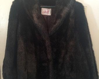 Vintage Adorable Coat Corp Women mid thigh length Faux Beaver Fur Coat