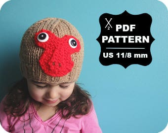 English-French Two Needle KNITTING PATTERN / Digital Download / #61 / Knitted Macaque monkey Hat / 6-16M to 5 years-Adult / US11 / 8mm