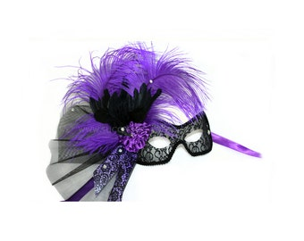 Crowe w/ feather crow Purple Women's Masquerade Mask - A-2343P-R