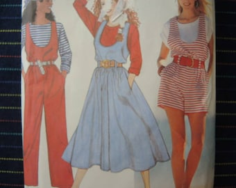 vintage 1990s Simplicity sewing pattern 9719 misses loose fitting jumpsuit in two lengths jumper and top sizes xxs-large