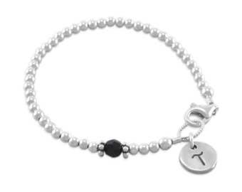 Baby Initial Bracelet, sterling silver, newborn gift, beaded, stamped letter, birthstone, first birthday, little girls custom, black TAYLOR