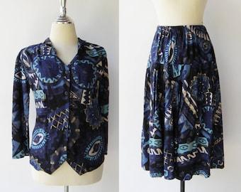 Vintage 1980s Top and Skirt Set / Novelty Print Set / Size S M
