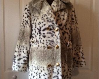 Vintage 1960's Faux Fur Snow Leopard Double Breasted Pea Coat Jacket