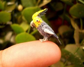 Cockatiel  - Micro Amigurumi Miniature Crochet Bird Stuffed Animal - Made To Order