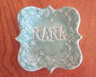 In Stock, Nana Ring Dish, Nana gift, Grandma gift, Ceramic ring holder
