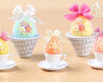 Candy Easter Egg Decorated with Blossoms in Egg Cup - Peach Egg - Miniature Food in 12th Scale